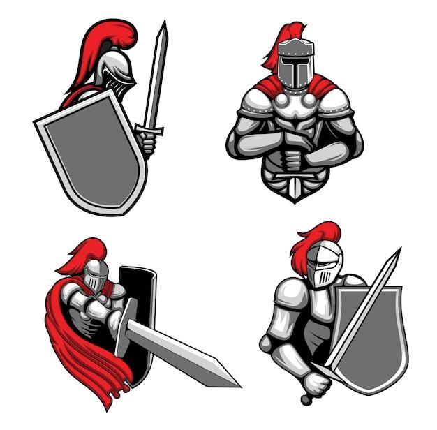 Chevaliers Médiévaux Avec Des Mascottes D'épée Et De Bouclier. Vecteur Premium