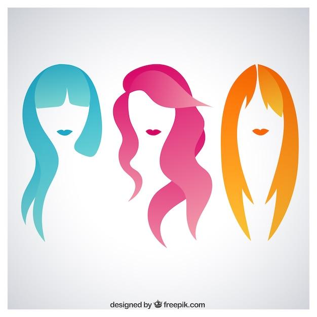Cheveux femme coloré Vecteur gratuit