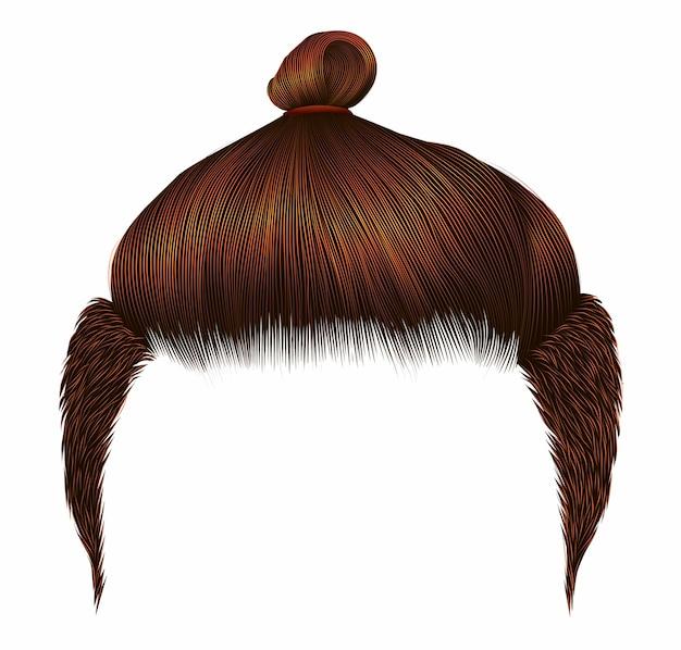 Cheveux Homme Rouge Bun Vecteur Premium
