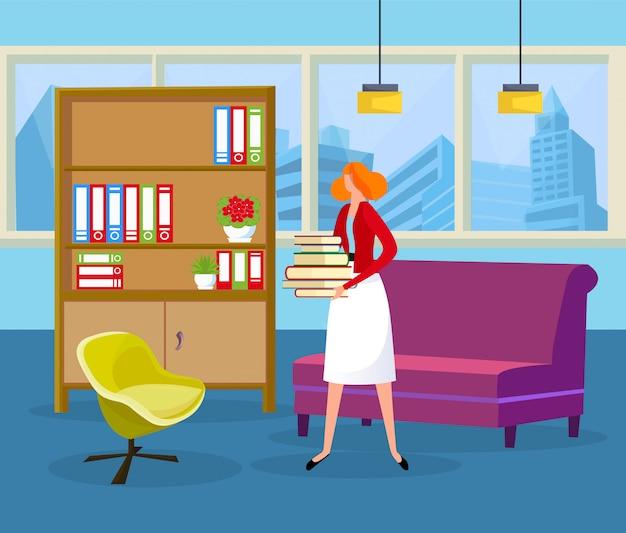Cheveux roux, femme, tenue, pile, livres, mains Vecteur Premium