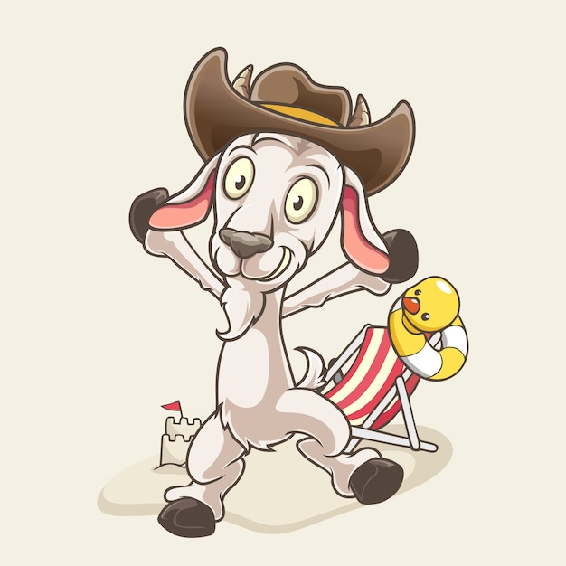 Chèvre de dessin animé à la plage Vecteur Premium