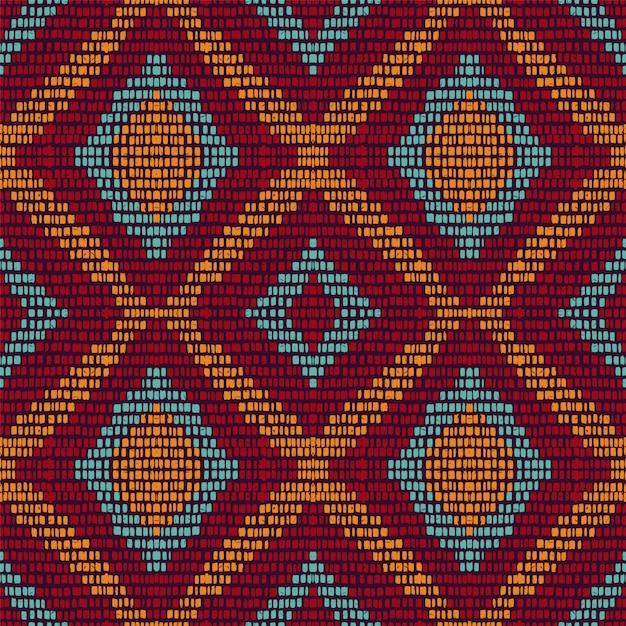 Chevron à Répétition à Froid. Modèle Sans Couture De Tapis Marron. Ethnique Tie Dye Géométrique. Fond De Rayures Azur Au Japon. Navajo Tribal Arabe. Vecteur Premium