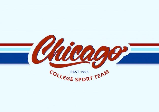 Chicago dans le style de lettrage. mode équipe sportive. Vecteur Premium