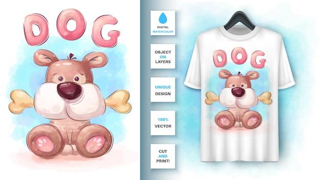 Chien Aquarelle Avec Os - Affiche Et Merchandising Vecteur gratuit