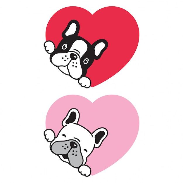 Chien Bulldog Français Coeur Saint Valentin Vecteur Premium