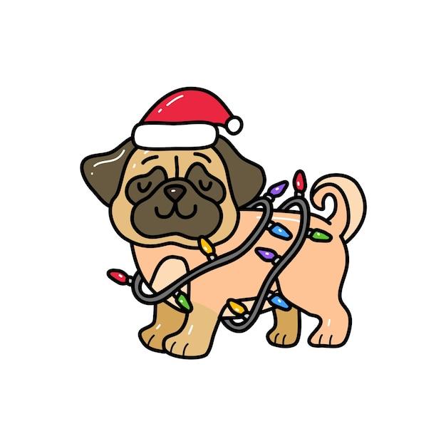 Chien Carlin Enveloppé Dans La Lumière De Noël Dans Un Style De Dessin à La Main Doodle. Doodle Animal Vecteur Premium