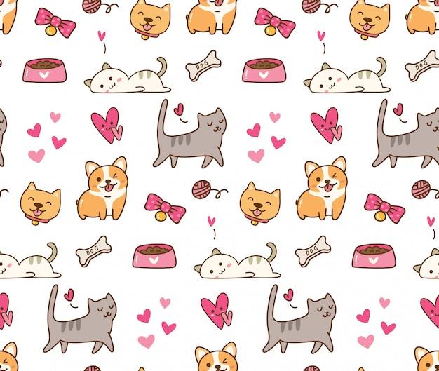 Chien et chat fond kawaii Vecteur Premium