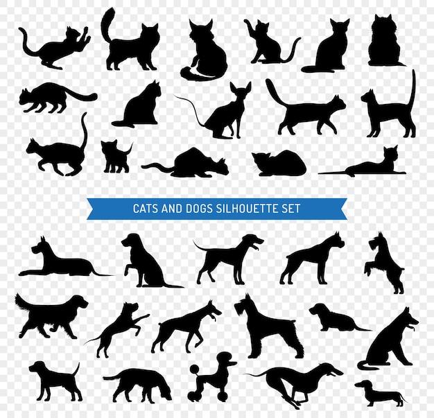 Chien et chats silhouette noir set Vecteur gratuit