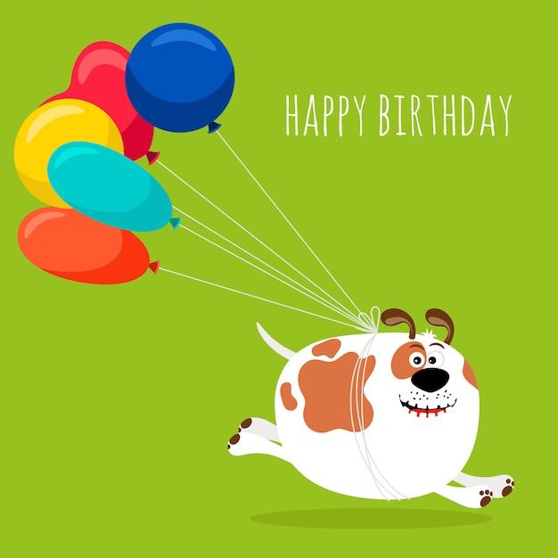 Chien en cours d'exécution avec des ballons à air chaud, carte de voeux joyeux anniversaire Vecteur Premium
