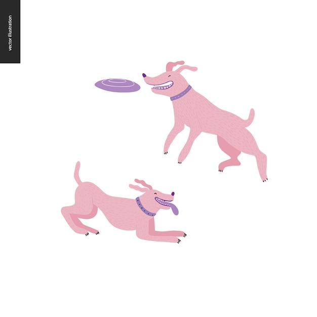 Chien dans le parc - illustration de concept de vecteur plat de deux chiens à colliers. on saute dans les airs pour attraper un disque volant. un autre joue avec sa langue. Vecteur Premium