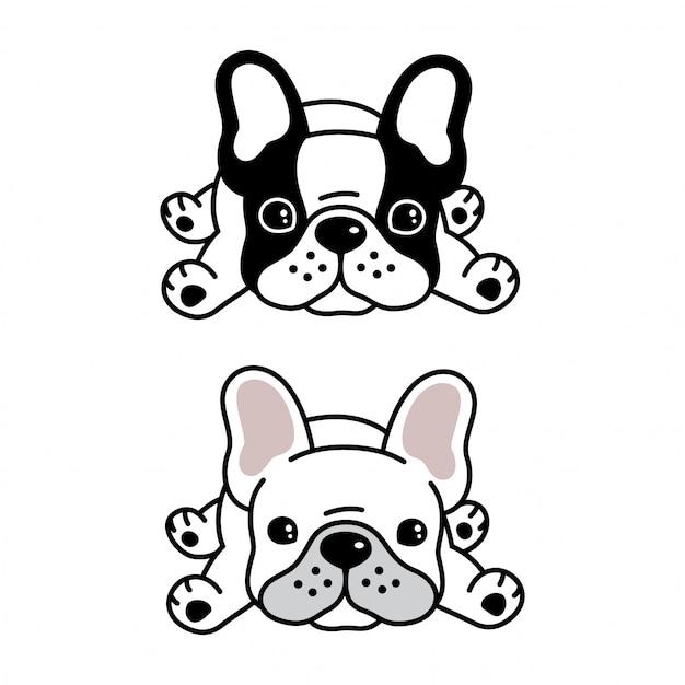 Chien dessin animé animal bulldog français Vecteur Premium