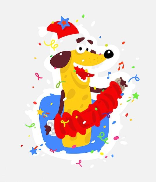 Le chien jaune est le symbole du nouvel an chinois. Vecteur Premium
