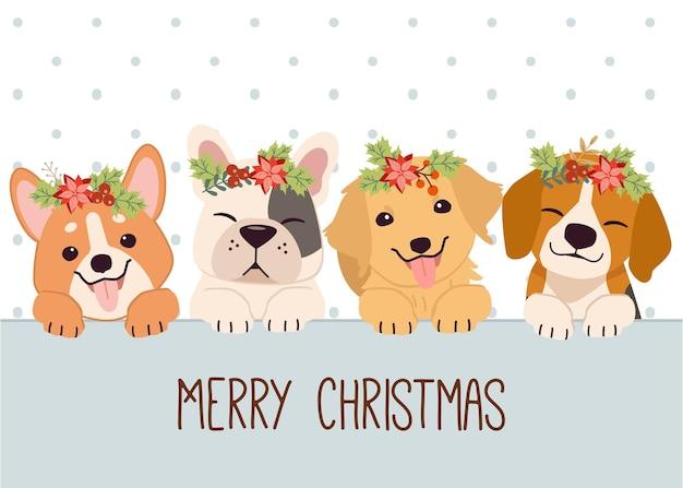 Chien Mignon Et Amis Avec Couronne Florale Souhaitant Joyeux Noël Vecteur Premium