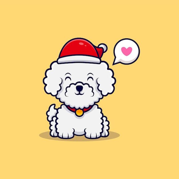Chien Mignon Bichon Frisé Portant Un Chapeau De Noël Dessin Animé Icône Illustration Vecteur Premium