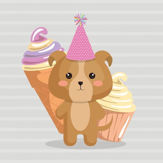 Chien Mignon Avec Carte D'anniversaire Kawaii De Crème Glacée Vecteur gratuit