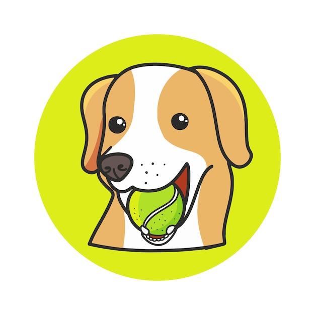 Chien mignon, manger des balles de tennis cartoon illustration dessinée de main. Vecteur Premium