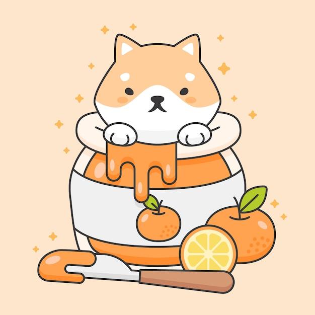 Chien mignon shiba inu dans un pot de confiture orange Vecteur Premium