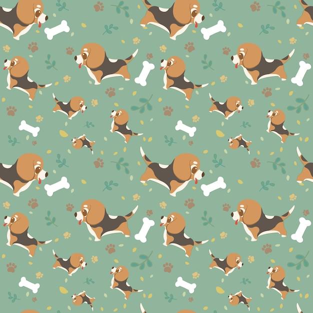 Chien de race dessin animé modèle sans couture beagle avec des pattes, des feuilles et des os. Vecteur Premium