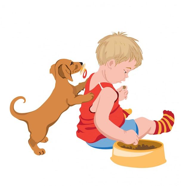 Chien Avec Tétine Dans La Bouche Essayant De Jouer Avec Un Enfant Qui Vole Sa Nourriture Vecteur gratuit