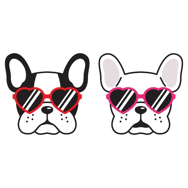 Chien, vecteur, bulldog français, coeur, lunettes soleil, caricature Vecteur Premium