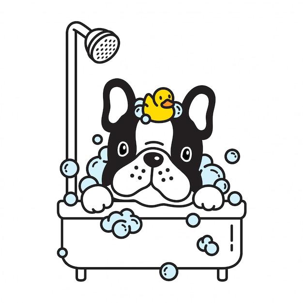 Chien vecteur caricature de bain douche bulldog français Vecteur Premium
