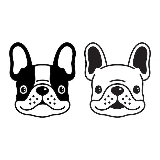 Chien vecteur français bulldog smilng dessin animé visage Vecteur Premium