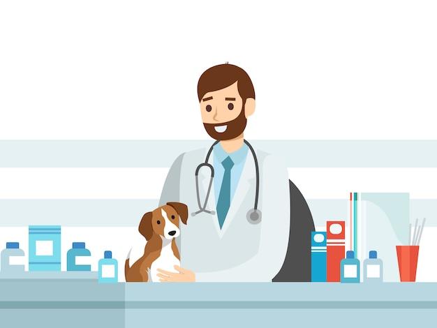 Chien vétérinaire, personnel vétérinaire plat Vecteur Premium