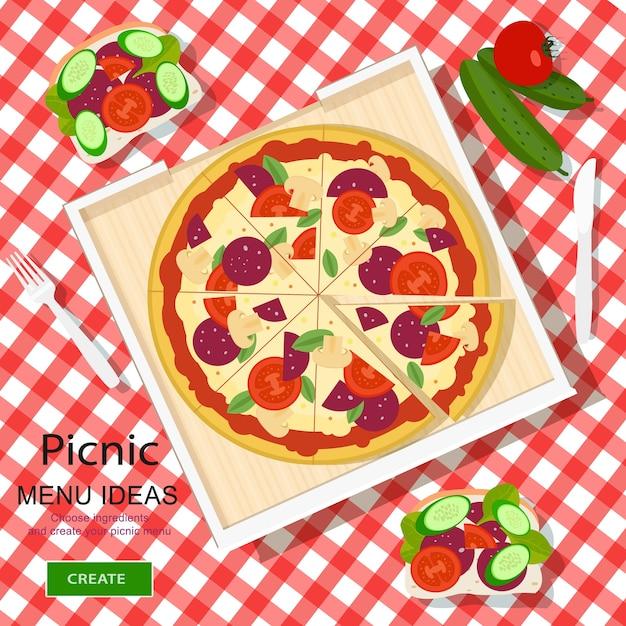 Chiffon à Carreaux Avec Pizza, Sandwichs Et Légumes. Vecteur Premium