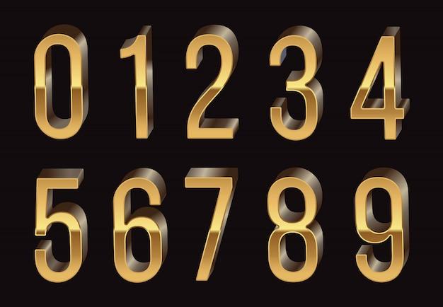 Chiffres 3d d'or Vecteur Premium