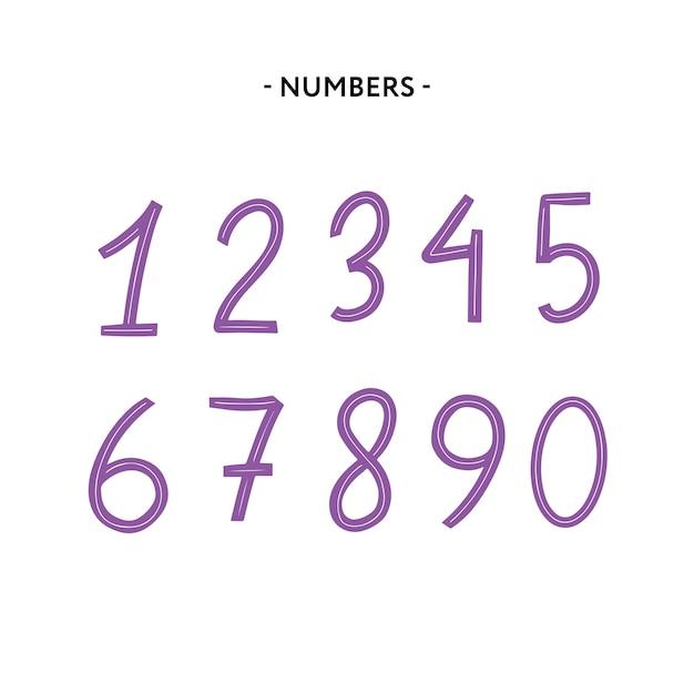 Chiffres de l'alphabet latin de 1 à 0 Vecteur Premium