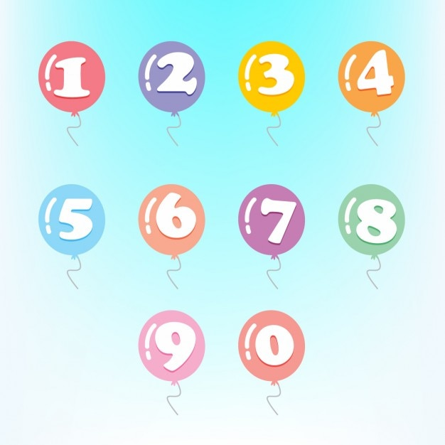 Les chiffres en ballons colorés Vecteur gratuit