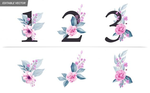 Chiffres floraux avec décoration de fleurs et feuilles à l'aquarelle Vecteur Premium