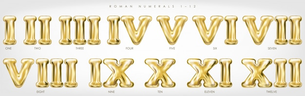 Chiffres Romains 1-12 Par Ballons Dorés Vecteur Premium