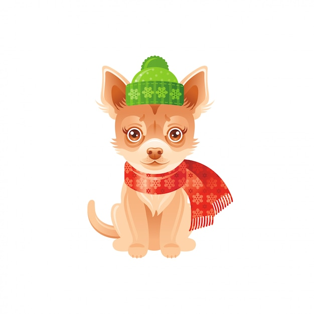 Chihuahua mignon en bonnet et écharpe d'hiver Vecteur Premium