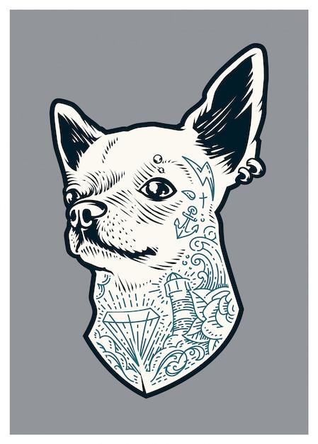 Chihuahua Tatoué Vecteur gratuit