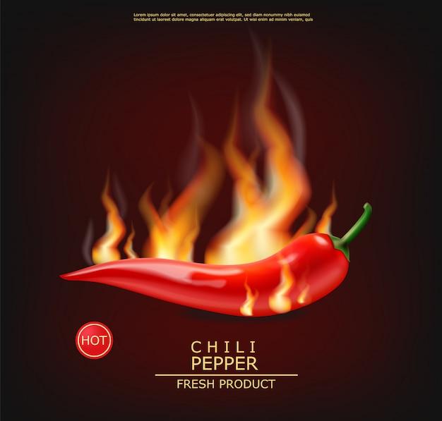 Chili en feu réaliste piment Vecteur Premium