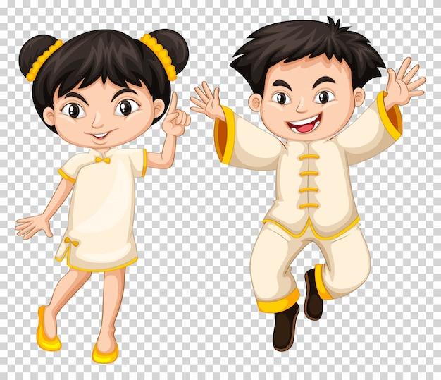 Chinois garçon et fille en costume traditionnel Vecteur gratuit