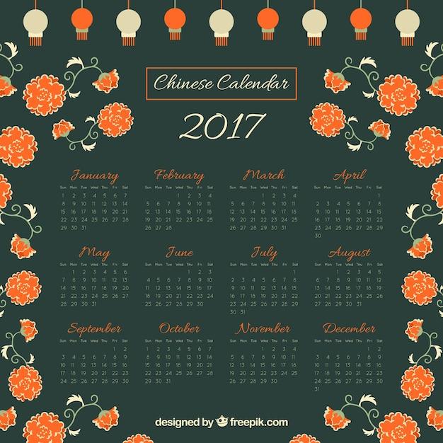 Chinois nouveau calendrier de l'année avec des fleurs et des lanternes Vecteur gratuit