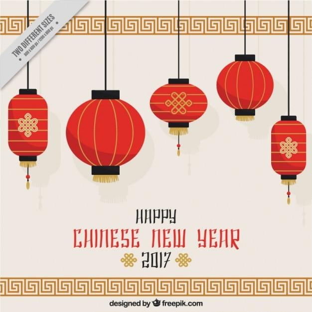 Chinois nouveau fond d'année avec des lanternes suspendues Vecteur gratuit