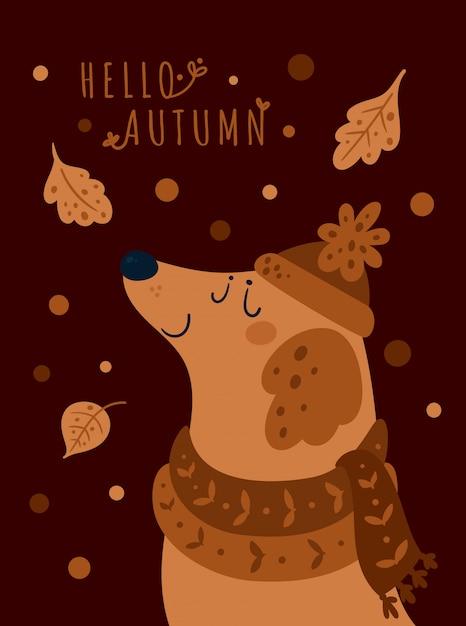 Chiot mignon en bonnet et écharpe. bonjour automne Vecteur Premium
