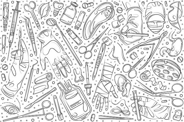 Chirurgie Dessinée à La Main Définie Doodle Vecteur Premium