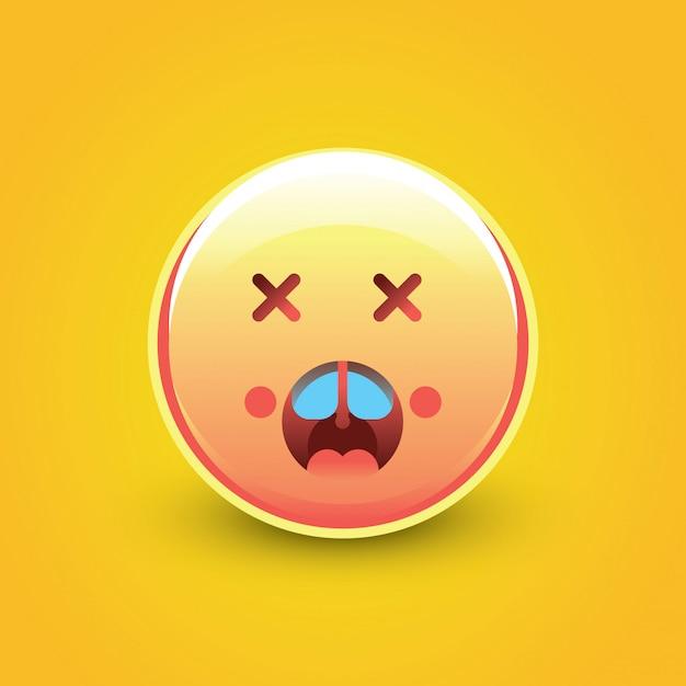 Choc Emoji Visage Avec Fond Jaune Vecteur Premium