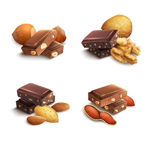 Chocolat aux noix Vecteur gratuit