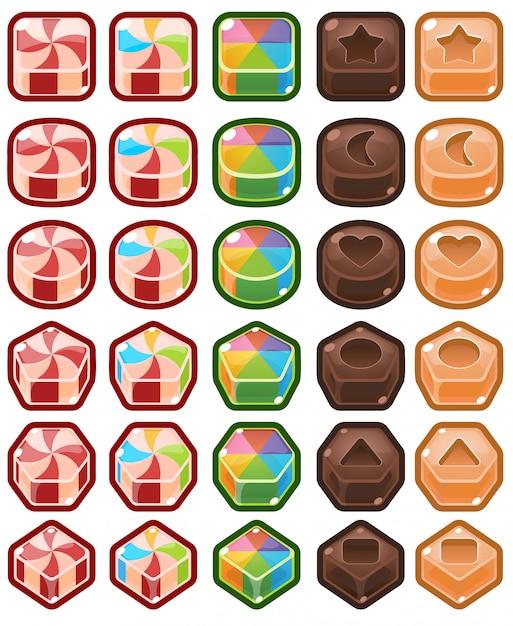 Chocolat bonbons match trois Vecteur Premium