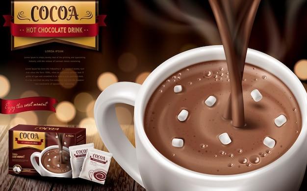 Chocolat Chaud Drk Ad, Avec De Petites Guimauves Et Arrière-plan Flou Vecteur Premium