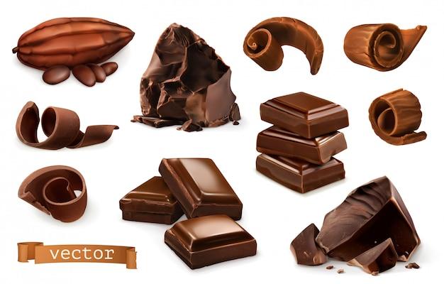 Chocolat. Morceaux, Copeaux, Fruits De Cacao. Vecteur Premium