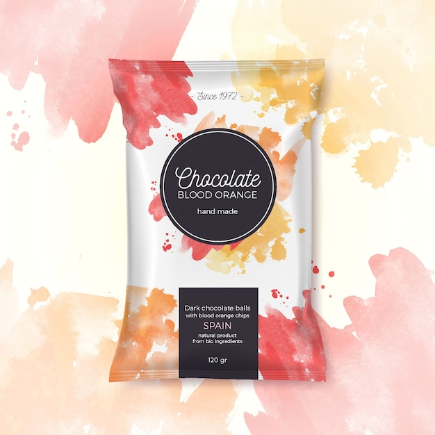 Chocolat Orange Sanguine Emballage Coloré Vecteur Premium