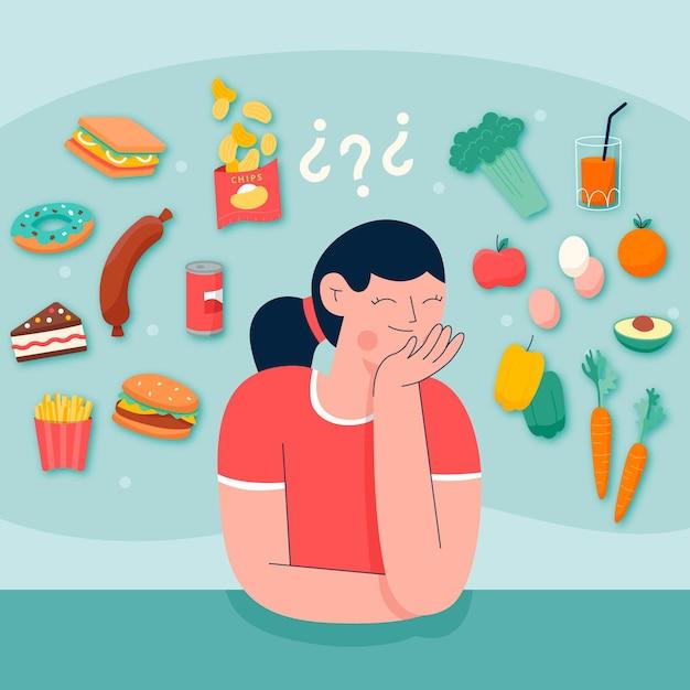 Choisir Entre Des Aliments Sains Ou Malsains   Vecteur ...