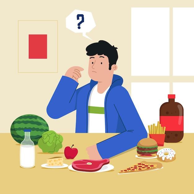 Choisir Entre Un Concept D'aliments Sains Ou Malsains Vecteur gratuit