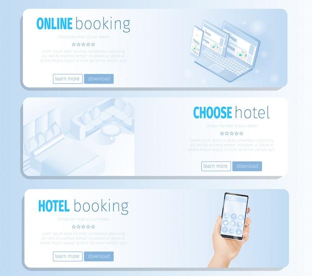 Choisir un modèle de bannière d'hôtel vector réservation en ligne Vecteur Premium